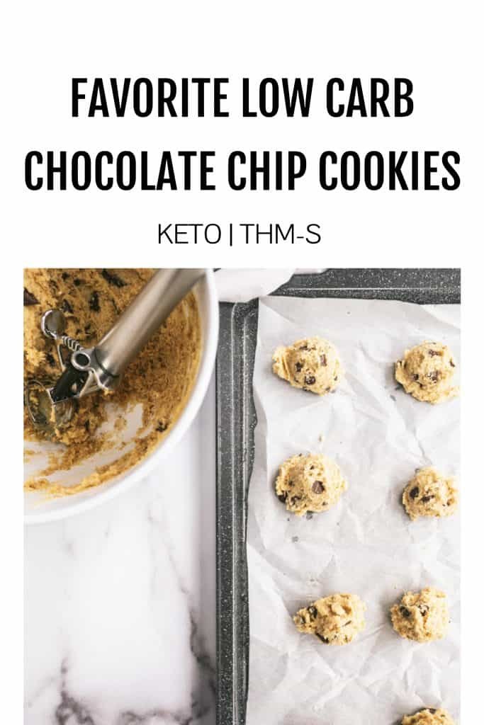unbaked cookie dough on cookie sheet with mixing bowl beside