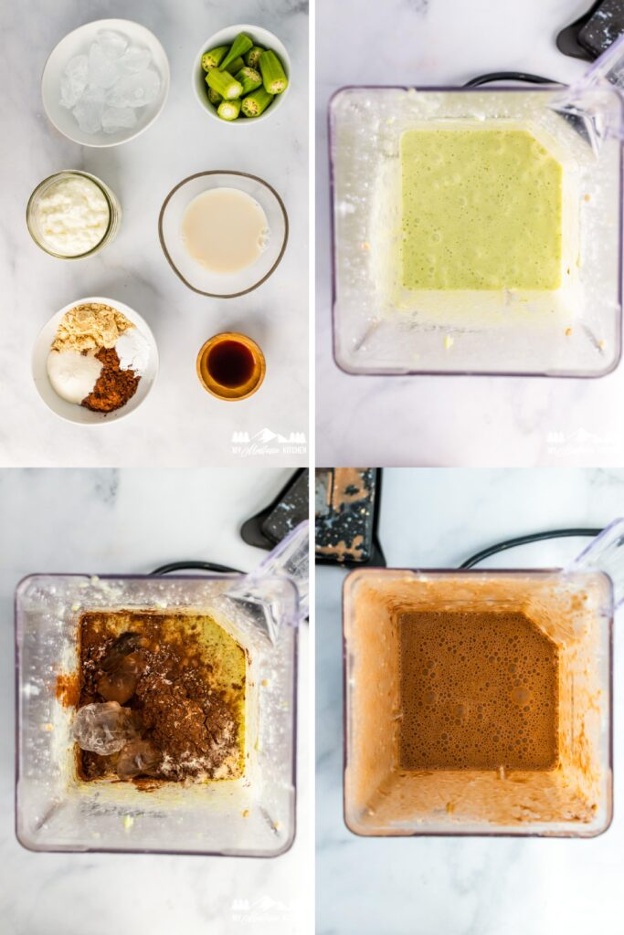 process and ingredients for chocolate peanut butter milkshake