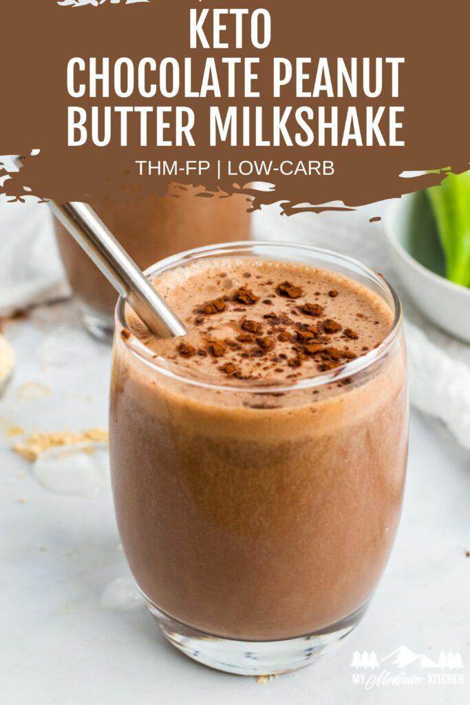 chocolate peanut butter milkshake in glass with metal straw
