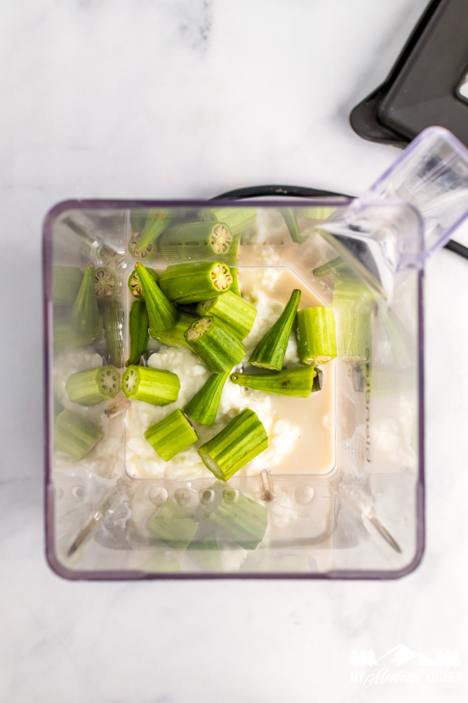 milkshake ingredients in blender with okra
