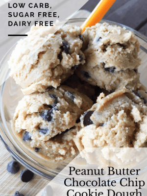 Peanut Butter Chocolate Chip Cookie Dough {THM-S, Gluten Free, Sugar Free, Dairy Free, Low Carb}