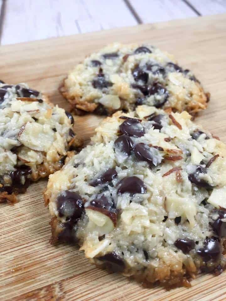 keto almond joy cookies on wooden cutting board