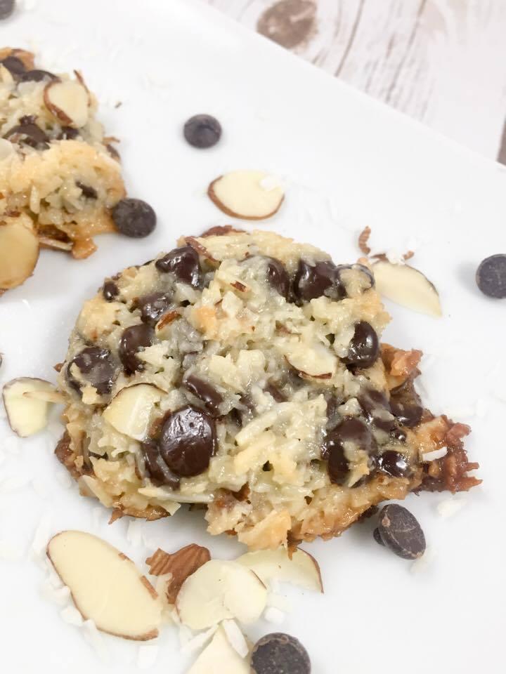 almond-joy-cookies-on-white-plate