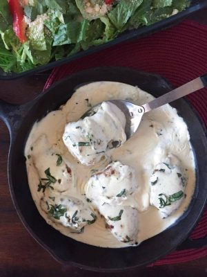 Creamy Basil Chicken Thighs {THM-S, Low Carb}