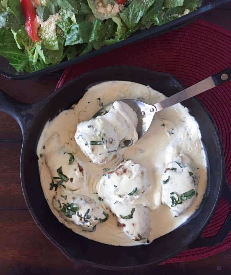Creamy Basil Chicken Thighs {Low Carb, THM-S}