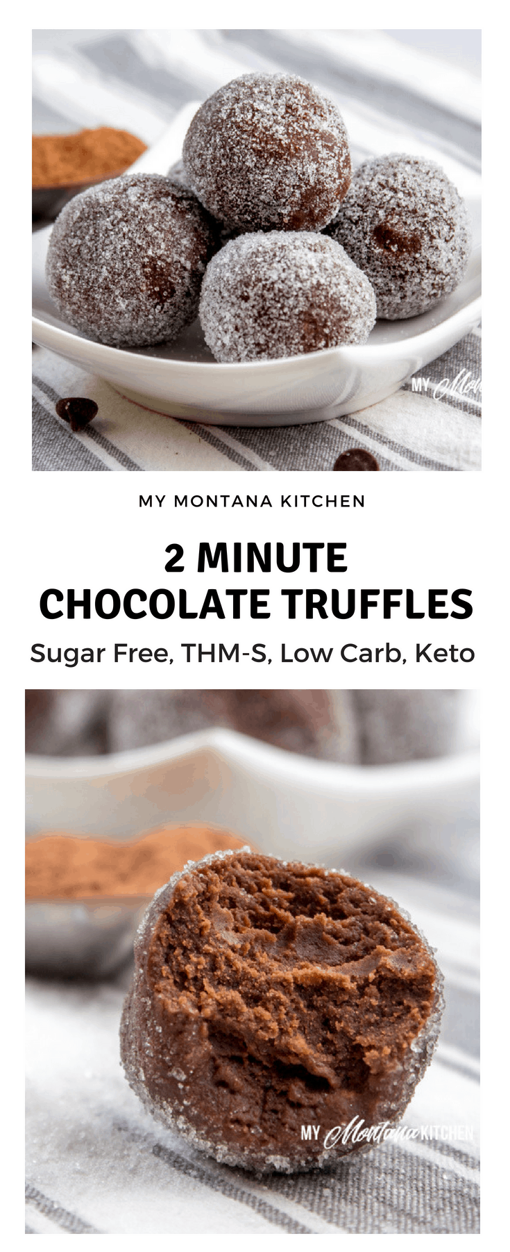 If you need a quick sweet treat, try this 2 Minute Chocolate Truffles Recipe. Seriously, you can have a decadent, velvety, rich truffle in less than 2 minutes - and with NO guilt! #trimhealthymama #thm #thm-s #2minutetruffles #thmtruffles #sugarfree #keto #lowcarb #dairyfree #glutenfree #chocolate