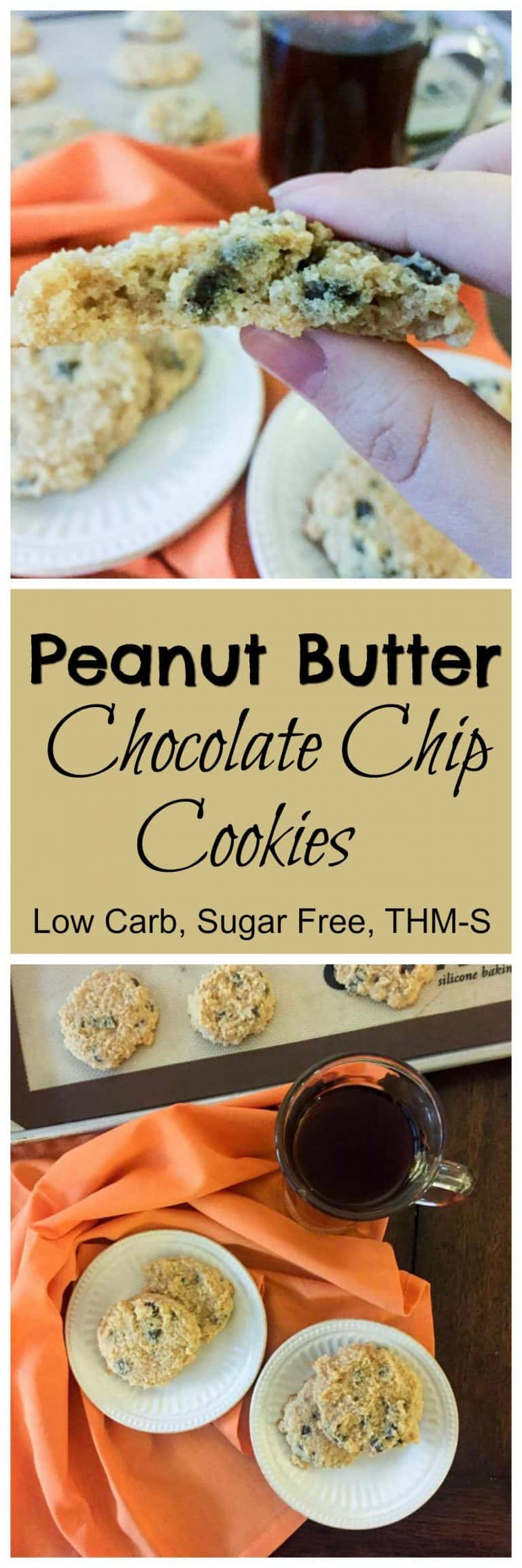 Peanut Butter Chocolate Chip Cookies (Low Carb, Sugar Free, THM-S)