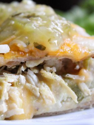 Green Chile Chicken Enchiladas (THM-S, Low Carb)