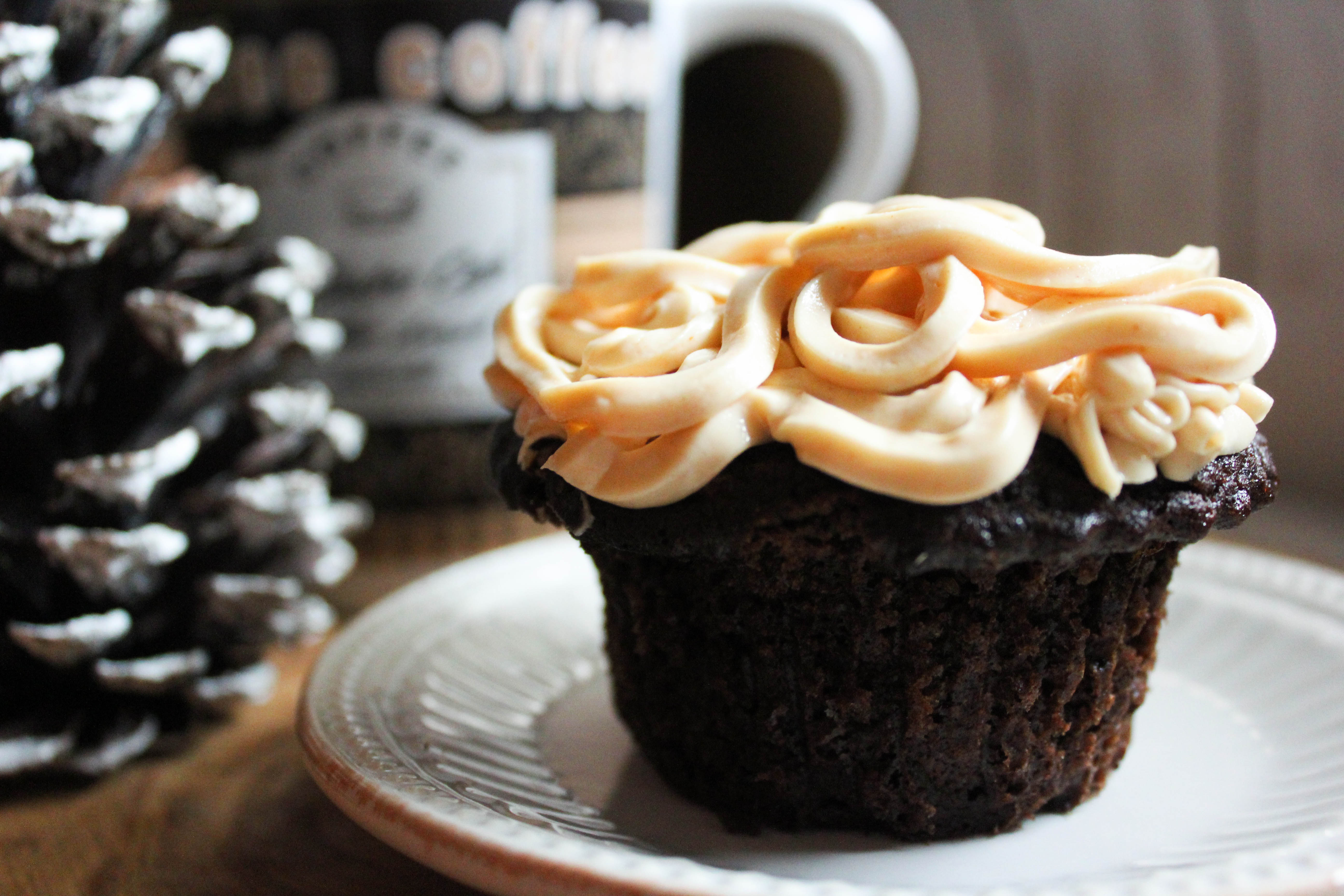 Surprise Cupcakes with Peanut Butter Frosting (THM-S, Low Carb, Sugar Free, Gluten Free)