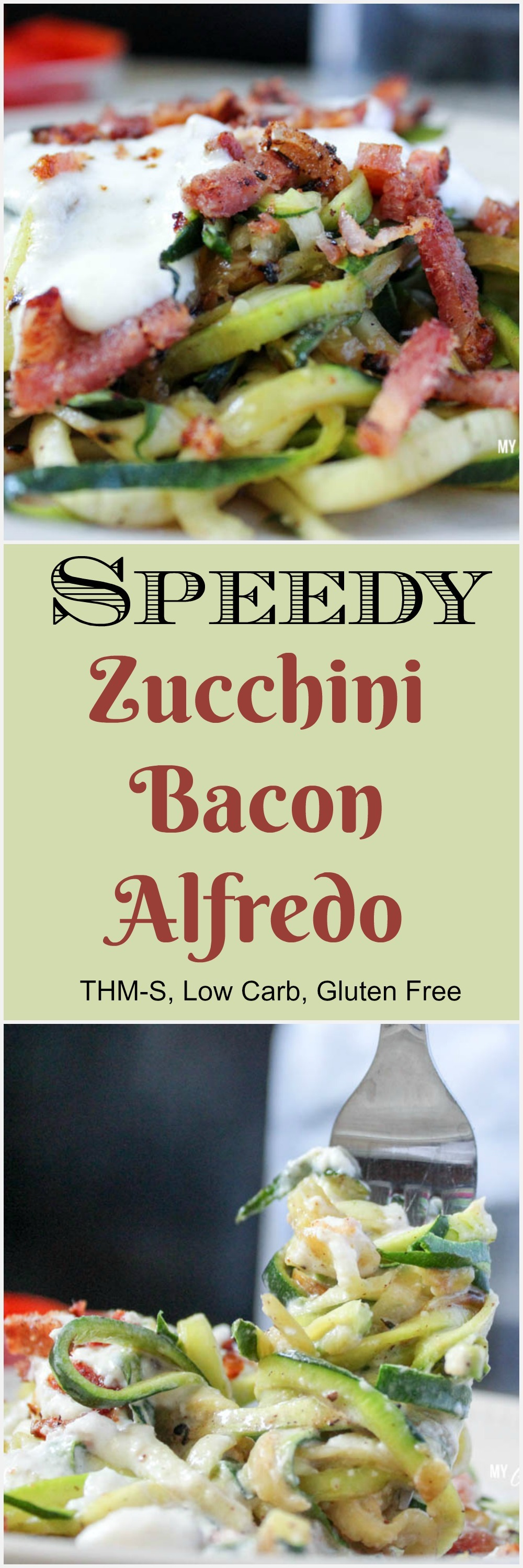 Speedy Zucchini Bacon Alfredo (THM-S, Low Carb)
