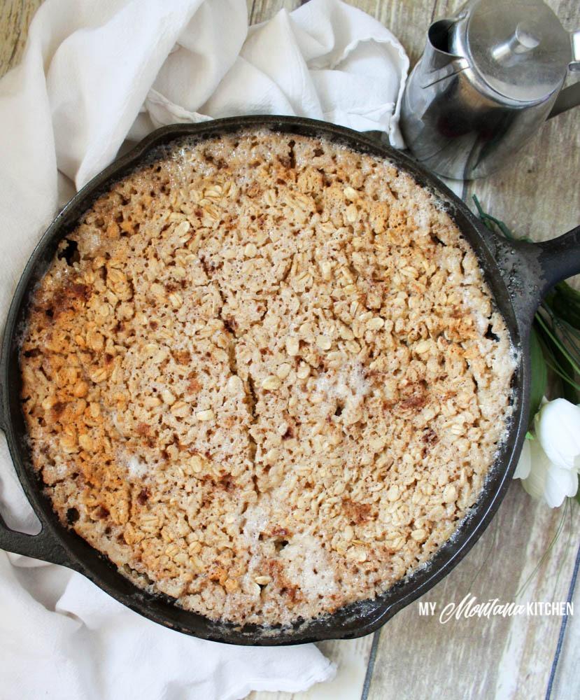 Upside Down Peach Oatmeal Bake (THM-E, Sugar Free)