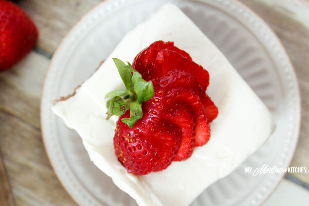 Low Carb Strawberry Cake with Cream Cheese Frosting (THM-S, Sugar Free)