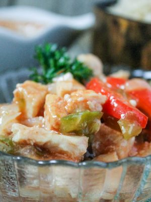 Sweet and Sour Chicken (THM-E, Sugar Free) #sweetandsourchicken #sweetandsour #lowfat #healthycarb #thm #trimhealthymama #thme #chicken #instantpot #recipe
