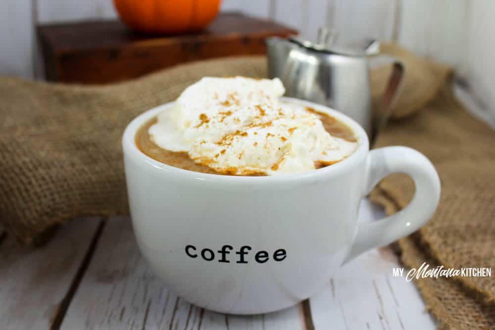 Pumpkin Spice Latte (Sugar Free, Low Carb, THM-S) #sponsored #trimhealthymama #thm #sugarfree #lowcarb #dairyfree #pumpkin #coffee