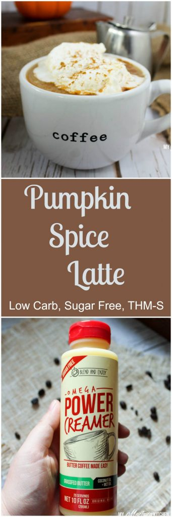 Pumpkin Spice Latte (Sugar Free, Low Carb, THM-S) #sponsored #trimhealthymama #thm #sugarfree #lowcarb #dairyfree #pumpkin #coffee