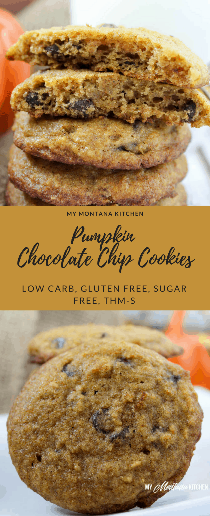 Pumpkin Chocolate Chip Cookies (Low Carb, Sugar Free, Gluten Free, THM-S) #pumpkin #pumpkincookie #chocolatechipcookie #lowcarb #trimhealthymama #thms #sugarfree #healthycookie