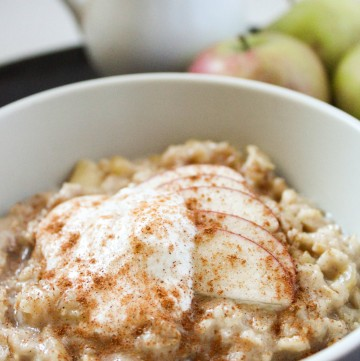 Maple Apple Oatmeal (Low Fat, Sugar Free, Dairy Free, THM-E) #trimhealthymama #thme #oatmeal #maple #apple #dairyfree #sugarfree #lowfat