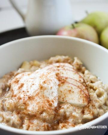 Maple Apple Oatmeal (Low Fat, Sugar Free, Dairy Free, THM-E) #trimhealthymama #thme #oatmeal #maple #apple #dairyfree #sugarfree #lowfat