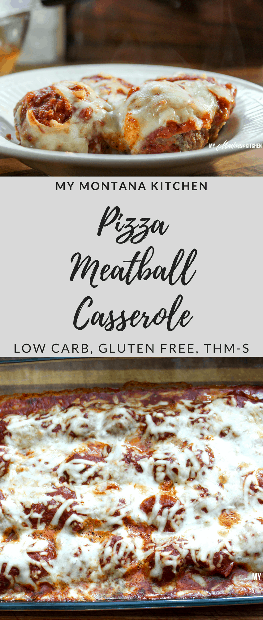 Low Carb Pizza Meatball Casserole #trimhealthymama #thm #thms #pizza #meatballs #casserole #mymontanakitchen