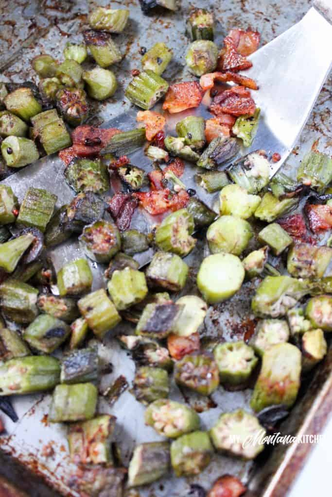 Crispy Roasted Okra with Bacon (Low Carb, THM-S) #trimhealthymama #thm #thm-s #crispyokra #okrarecipe #okra #bacon #roastedokra