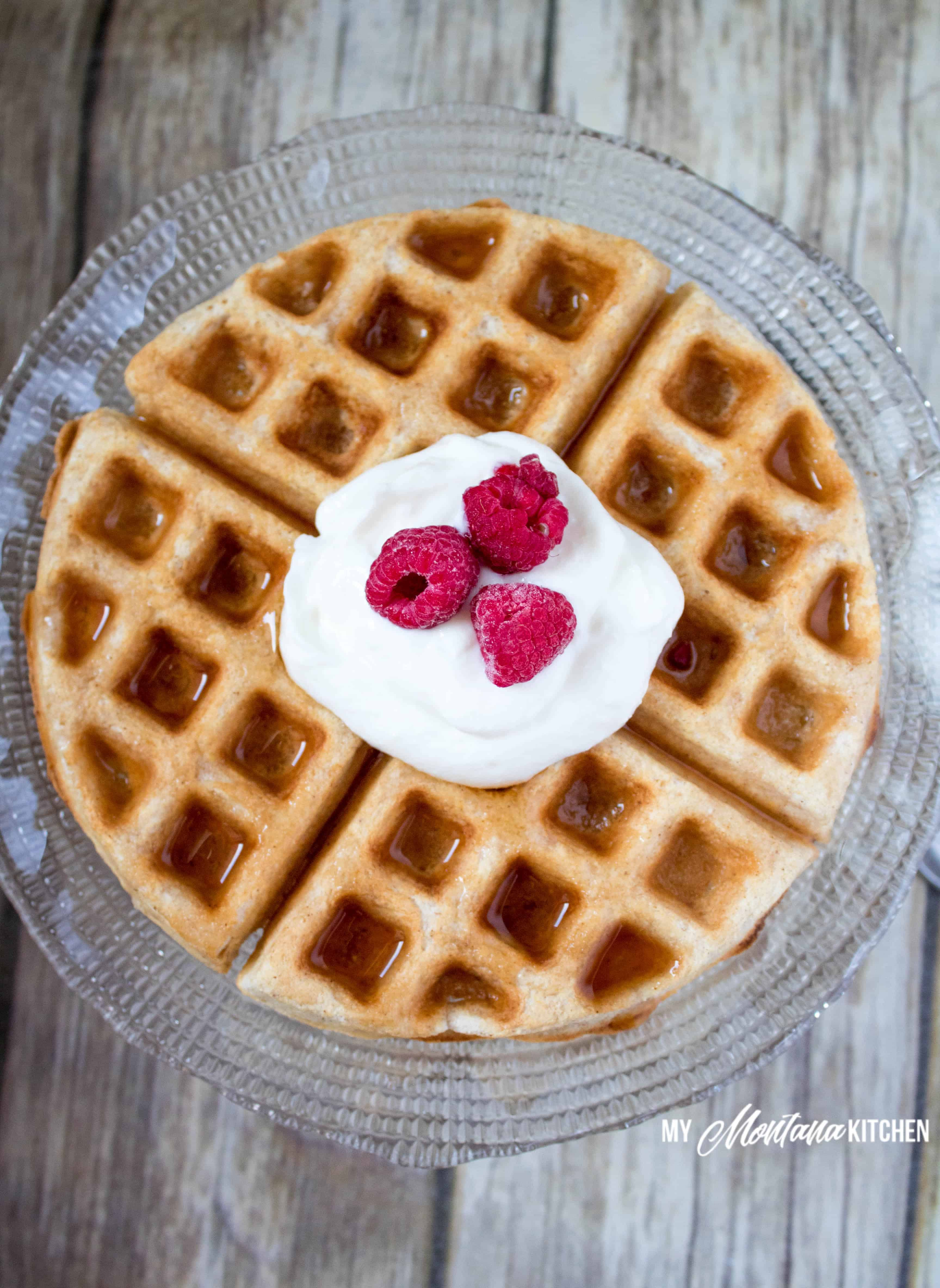 Low Carb Fuel Pull Waffle Recipe (THM-FP, Gluten Free) #trimhealthymama #thm #fp #fuelpull #thmfp #waffle #glutenfree #dairyfree #lowcarb #highfiber #mymontanakitchen