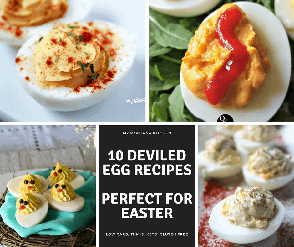 10 Deviled Egg Recipes for Easter (Low Carb, Keto, THM-S) #trimhealthymama #thm #keto #lowcarb #deviledeggs #eggs #easter