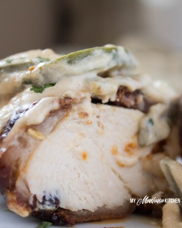 Bacon Wrapped Chicken with Jalapeño Cream Sauce (Low Carb, THM-S, Keto, Gluten Free) #trimhealthymama #thm #thms #lowcarb #jalapeño #creamsauce #bacon #chicken #baconwrappedchicken
