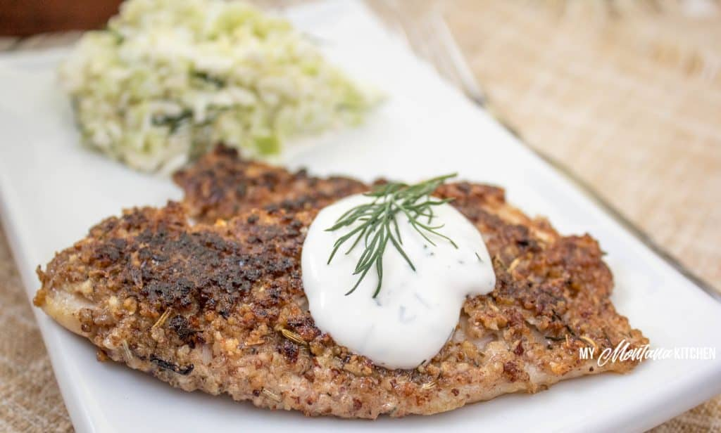 Pecan Crusted Tilapia with Lime Dill Yogurt Sauce (THM-S, Keto, Gluten Free) #trimhealthymama #thm #thm-s #lowcarb #keto #fish #tilapia #glutenfree