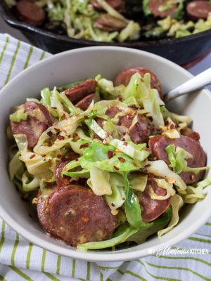 Cheesy Sausage and Cabbage Skillet