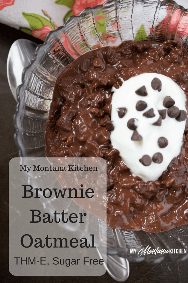 Brownie Batter Oatmeal (THM-E, Sugar Free, Dairy Free) #trimhealthymama #thm #thme #oatmeal #chocolate #chocolateoatmeal #sugarfree #glutenfree #dairyfree #browniebatteroatmeal #cleaneating
