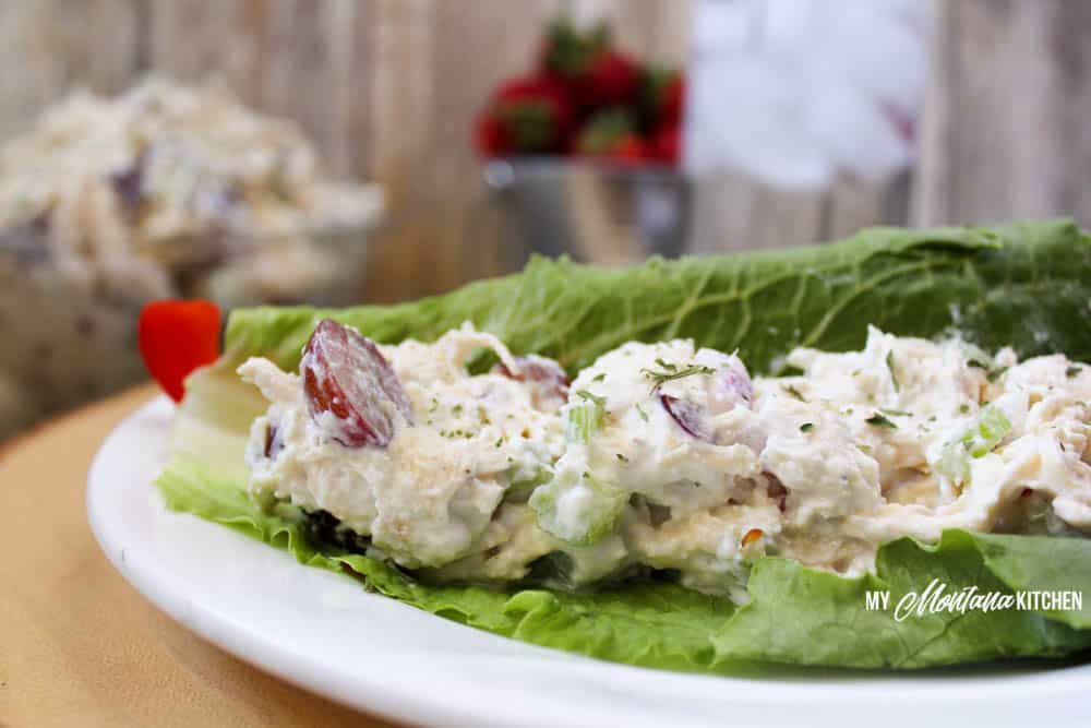 healthy chicken salad on lettuce