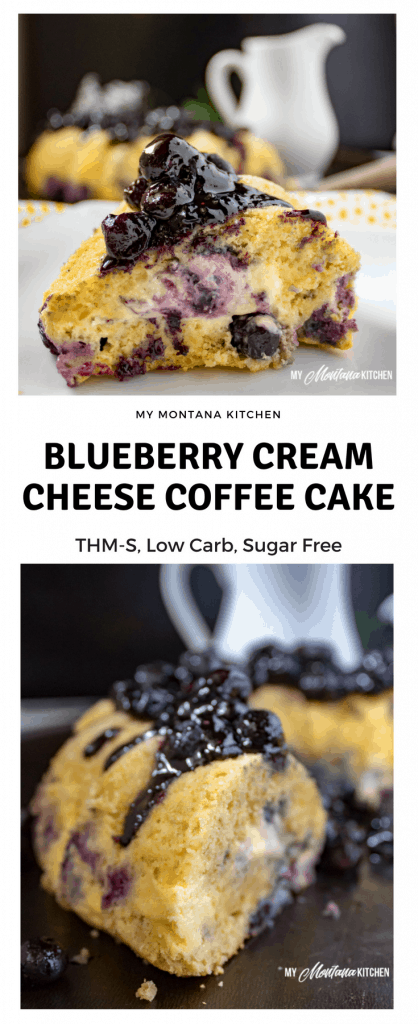 Blueberry Cream Cheese Coffee Cake (Low Carb, THM-S, Sugar Free) #trimhealthymama #thm #thms #lowcarb #glutenfree #coffeecake #blueberry #creamcheese #blueberrycoffeecake #creamcheesecoffeecake