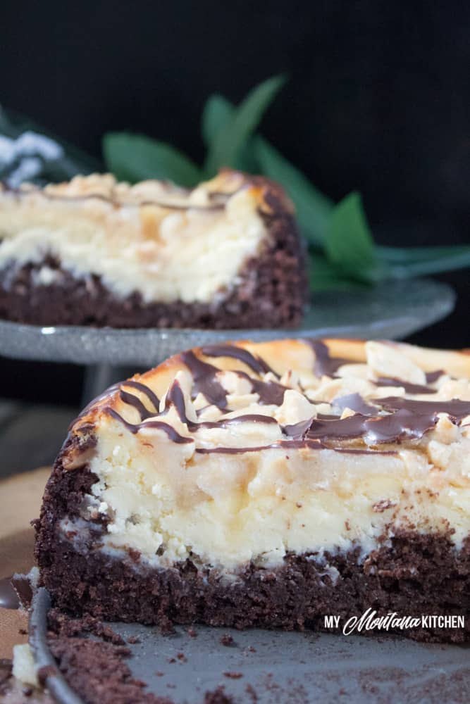 Snickers Brownie Cheesecake (Low Carb, THM-S, Sugar Free) #trimhealthymama #thm #thms #lowcarb #keto #sugarfree #glutenfree #brownie #cheesecake #browniecheesecake
