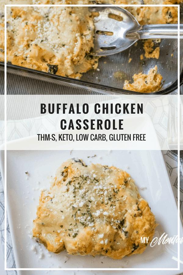 Buffalo Chicken Casserole (THM-S, Low Carb) #trimhealthymama #thm #thms #lowcarb #glutenfree #keto #buffalochicken #hotsauce #casserole #mymontanakitchen