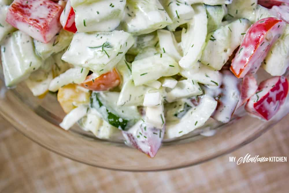 Cucumber Tomato Salad Recipe (Low Carb, THM-S) #trimhealthymama #thm #thms #lowcarb #keto #salad #cucumbers #glutenfree #tomatoes #peppers #summer