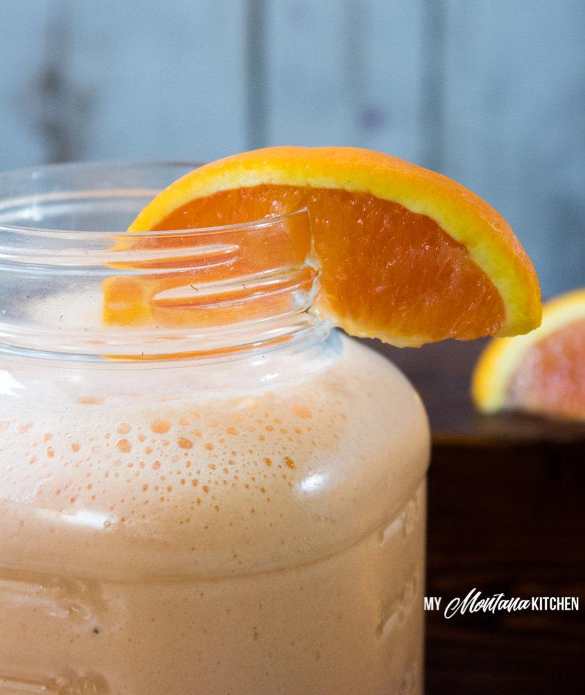 Orange Smoothie, Creamsicle Shake (THM-E, Sugar Free) #trimhealthymama #thm #thme #lowfat #sugarfree #orange #creamsicle #smoothie #shake #orangecreamsicle