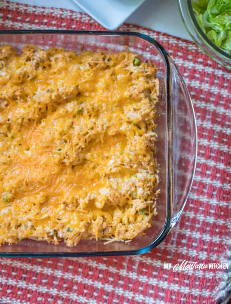 Taco Chicken Casserole (Low Carb, THM-S, Keto) #trimhealthymama #thm #thms #lowcarb #keto #taco #chickencasserole #tacocasserole #glutenrfree #easydinner
