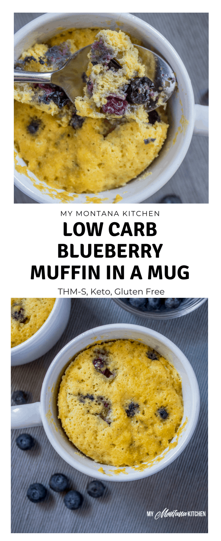 Sweet, tender, and bursting with blueberries, this Low Carb Sugar Free Blueberry Muffin in a Mug can be in your hands in less than 5 minutes! (And, you don't even have to turn on your oven!) You would never know this blueberry muffin is sugar free! #trimhealthymama #thm #lowcarb #glutenfree #sugarfree #blueberrymuffin #blueberries #muffininamug #mim #mymontanakitchen #lowcarbmuffin