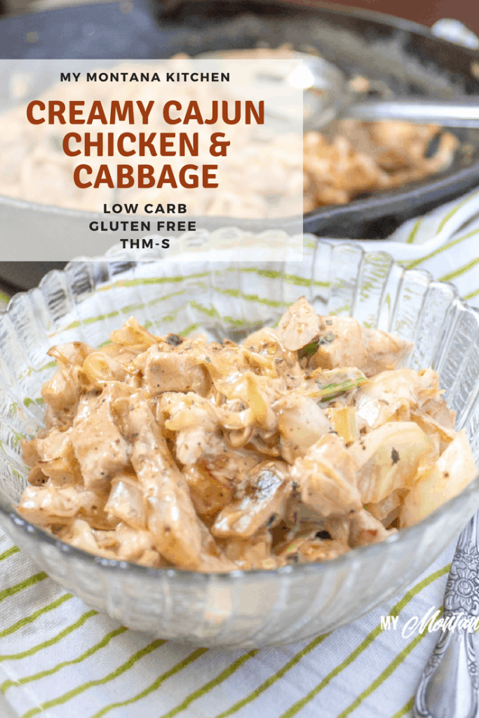 This Creamy Cajun Cabbage and Chicken tastes like a Cajun Alfredo. It is an easy low carb meal made on your stopetop. Perfect for summer or any time you need an easy, quick meal idea. #trimhealthymama #thm #lowcarb #cajun #chicken #cabbage #glutenfree #chickenandcabbage #easydinner #healthymeal