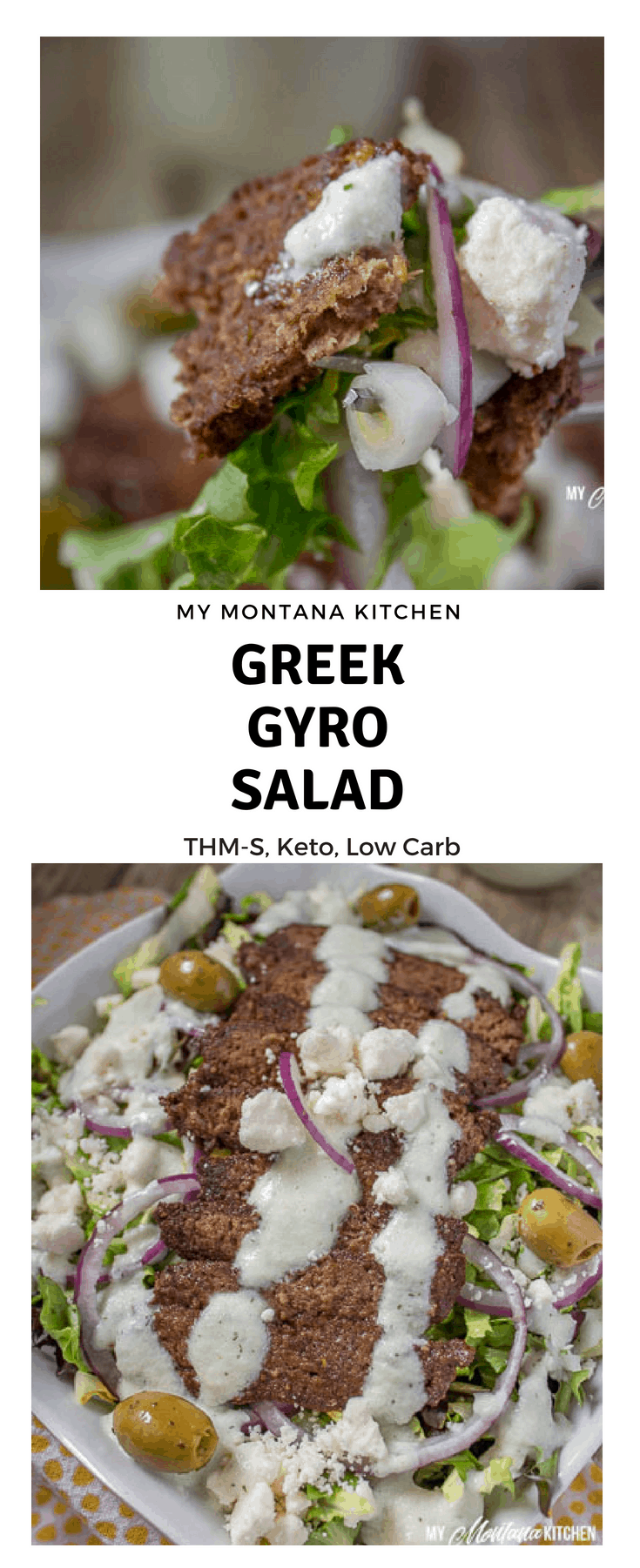 If you've been wondering how to make a Gyro Salad, look no further! This savory salad has all the flavor of Greek Gyros, and it makes a delicious healthy dinner! Even my kids loved this healthy entree! #trimhealthymama #thm #ketosalad #lowcarb #gyrosalad #greeksalad #greek
