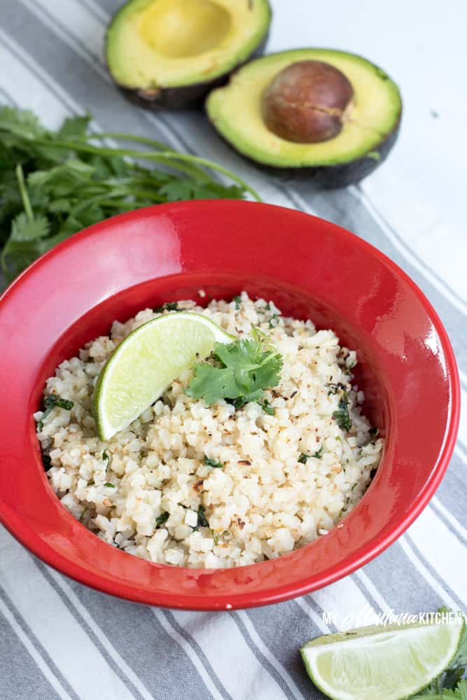 You can have Cilantro Lime Cauliflower rice can be ready and on your table in 15 minutes. This easy low carb side dish is filled with the fresh flavors of garlic and lime. Perfect as a Trim Healthy Mama Side Dish recipe, too! #trimhealthymama #thm #thms #lowcarb #keto #caulirice #cauliflowerrice #ricedcauliflower #mexican #cilantro #lime #cilantrolime