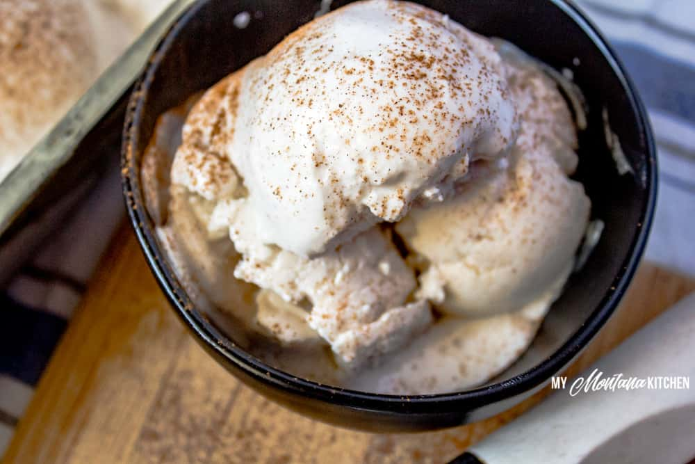 Sweet, tangy, and filled with comforting cinnamon, this easy Vanilla Frozen Yogurt recipe makes a super snack. Filled with protein, but light in calories, it is also a Trim Healthy Mama Fuel Pull Dessert! #trimhealthymama #thm #thmfp #lowcarb #lowfat #sugarfree #frozenyogurt #icecream #cinnamon #vanilla #vanillafrozenyogurt
