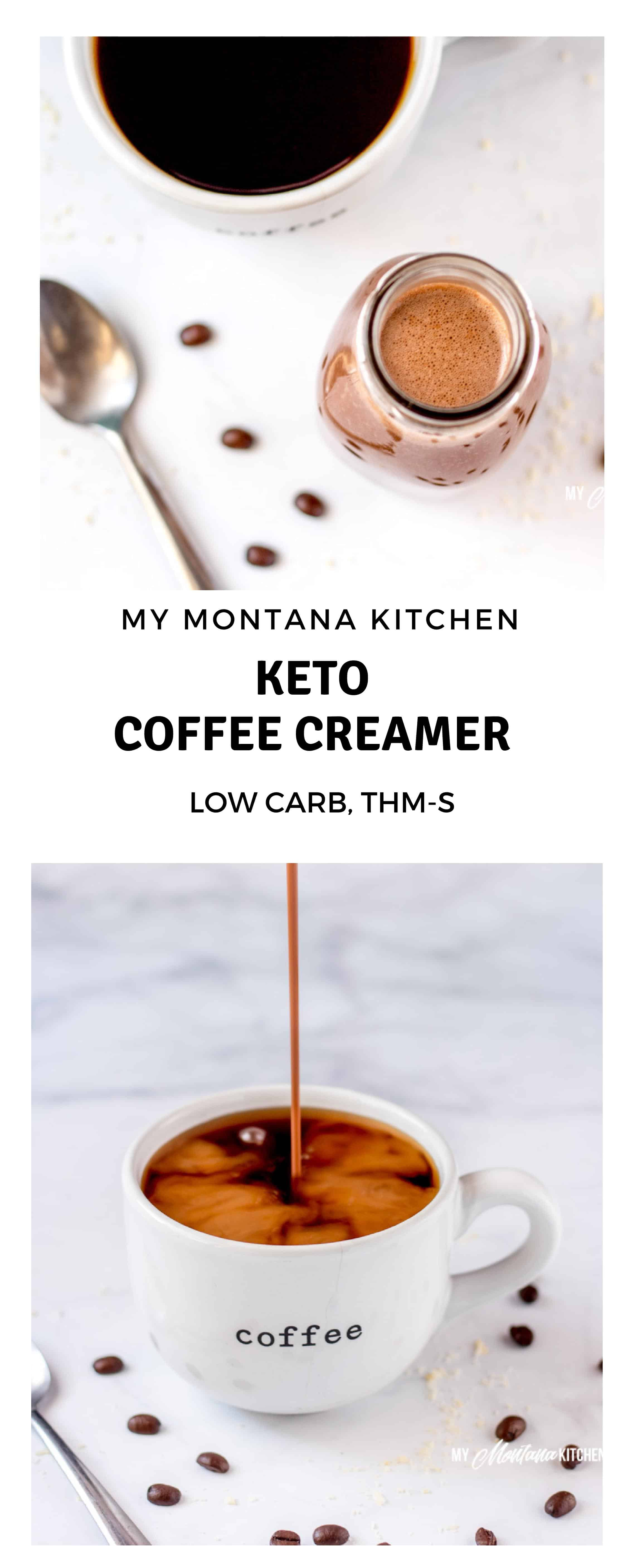 If you are missing coffee creamer on your keto diet, I have good news for you! This easy keto friendly creamer is easily made in less than 5 minutes and only uses a handful of ingredients! Rich, creamy, and so satisfying! #keto #ketocoffee #ketocoffeecreamer #coffeecreamer #sugarfree #lowcarb #trimhealthymama #thmcoffeecreamer #lowcarbhighfat #atkins #paleocoffeecreamer #paleo