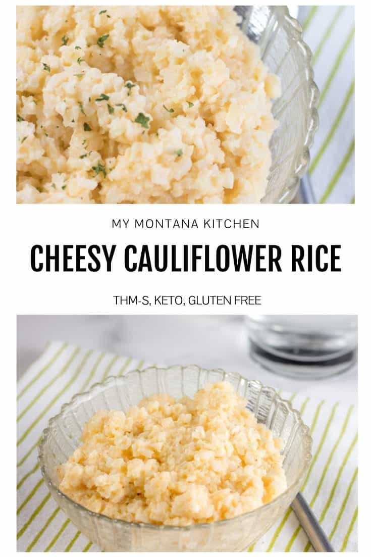 Easy cheesy cauliflower rice is the perfect keto side dish, but it can also make for a fabulous one-bowl low carb dinner. This cauliflower rice recipe is creamy, rich, low carb comfort food at its finest! #cauliflowerrice #cheesycauliflowerrice