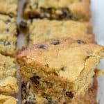 These delicious low carb chocolate chip cookie bars are a decadent treat, and taste just like your favorite cookie! These sugar free chocolate chip bars make a great healthy dessert recipe! #lowcarb #sugarfree