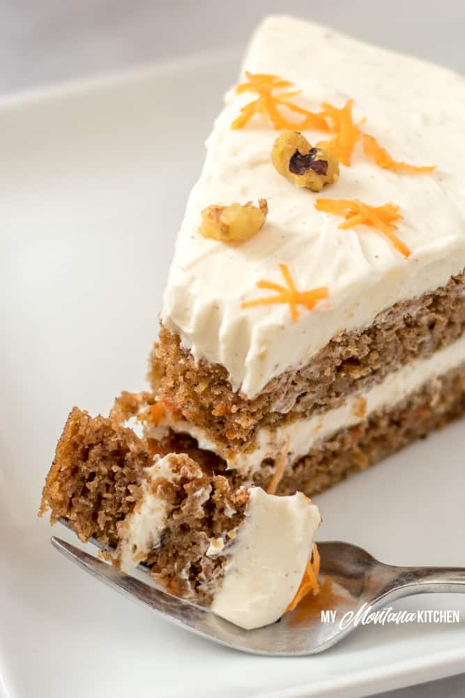 slice of keto carrot cake with bite on fork