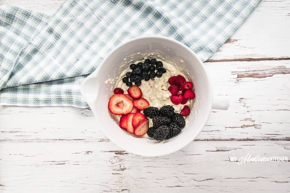 This Cheesecake Berry Salad is a Sugar Free, THM, Keto Dessert recipe! Filled with fresh berries, cream cheese, and whipping cream, it is always devoured quickly! #cheesecakeberrysalad #thm #sugarfree