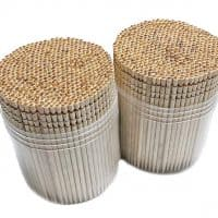 Makerstep Ornate Wooden Toothpicks - 1000 Pieces Cocktail + Sturdy Safe Large Round Storage Box + 2 Packs of 500 Party Appetizer Olive Barbecue Fruit Teeth Cleaning Art Crafts