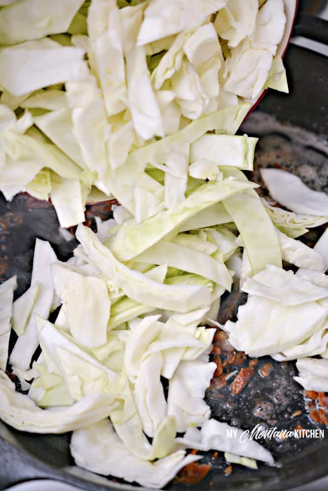 adding in the cabbage