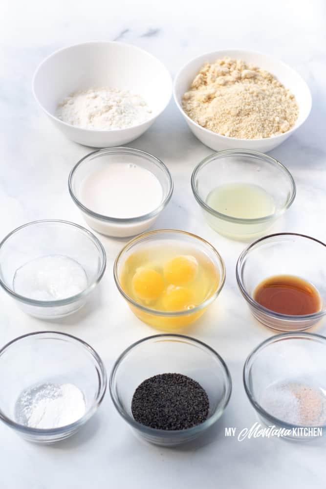 ingredients needed to make keto lemon poppy seed muffins